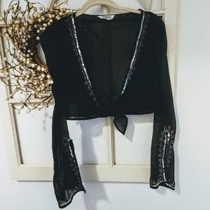 Black Sequin Bell Sleeve Crop Top Small